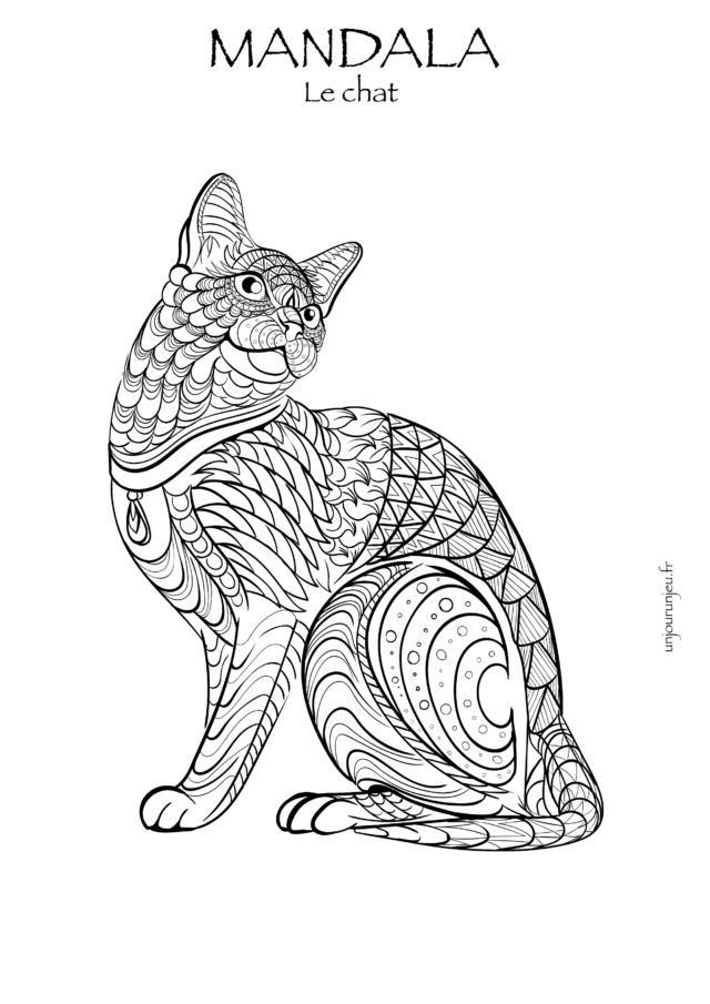 Coloriage Chat Stylise.Coloriages Mandalas Animaux A Telecharger Coloriage
