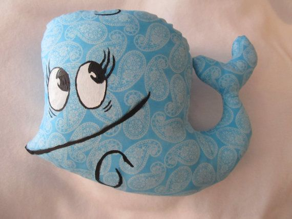 Bubby The Whale from Mis Adventures of Flapjack, paisley white on pale blue, other colors available on request, fandom novelty throw pillow on Etsy, $30.00