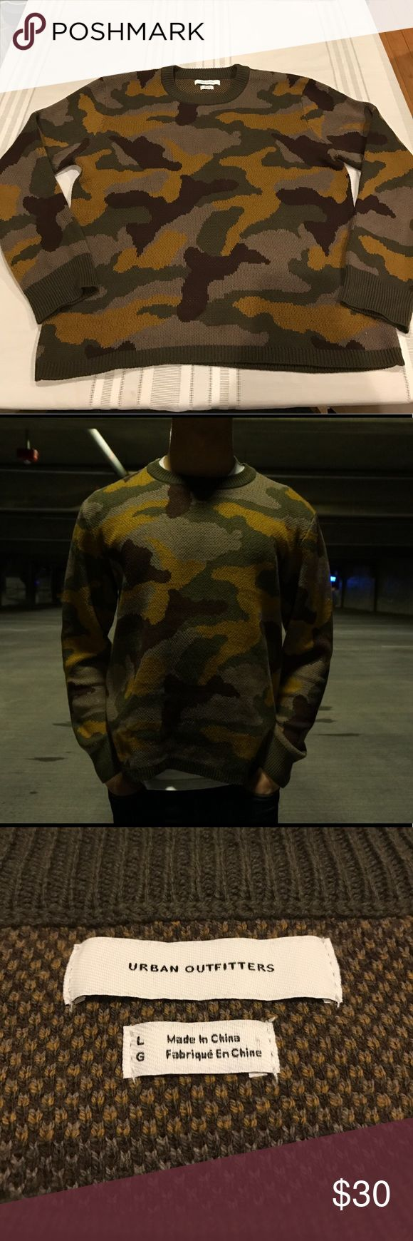 URBAN OUTFITTERS CAMO CREWNECK Once worn Urban Outfitters camo crewneck. Size L in US Men's. No rips, tears, stains. TTS. Urban Outfitters Sweaters Crewneck