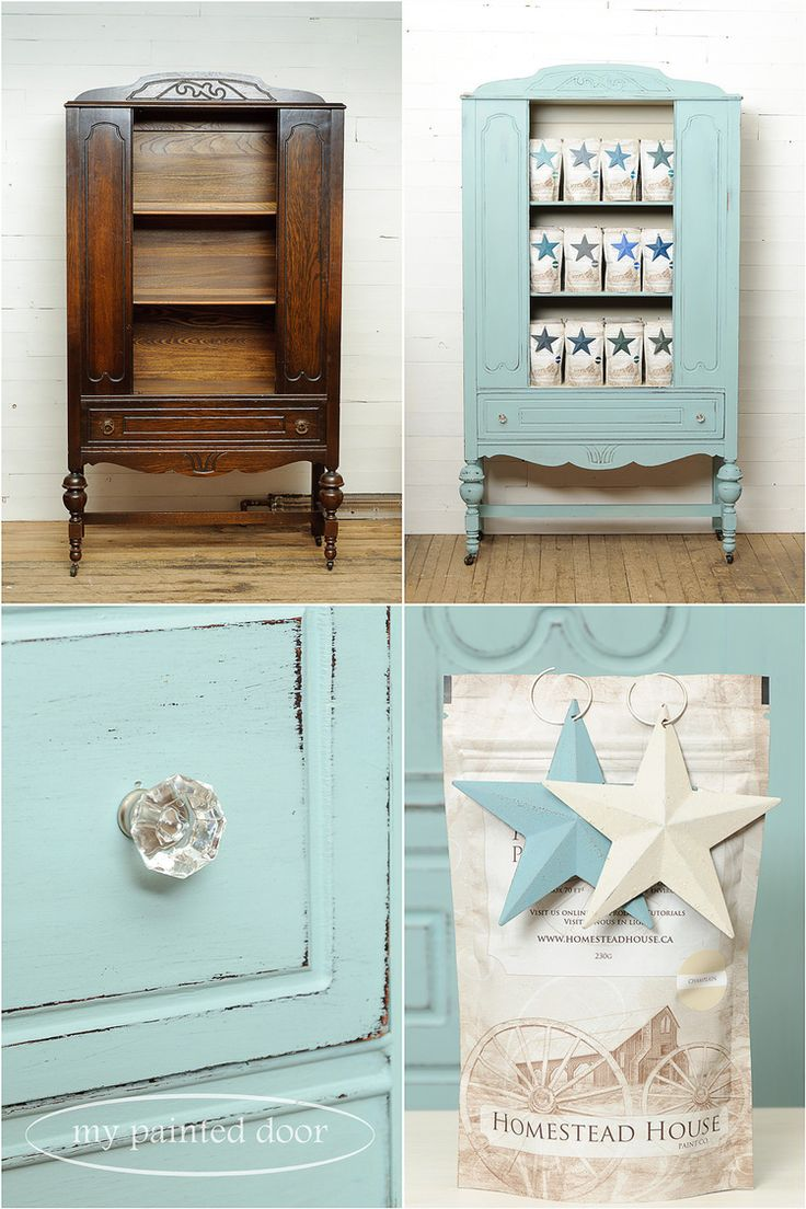 Before And After Photos   Hutch Painted In Homestead House Milk Paint In  Loyalist And Champlain