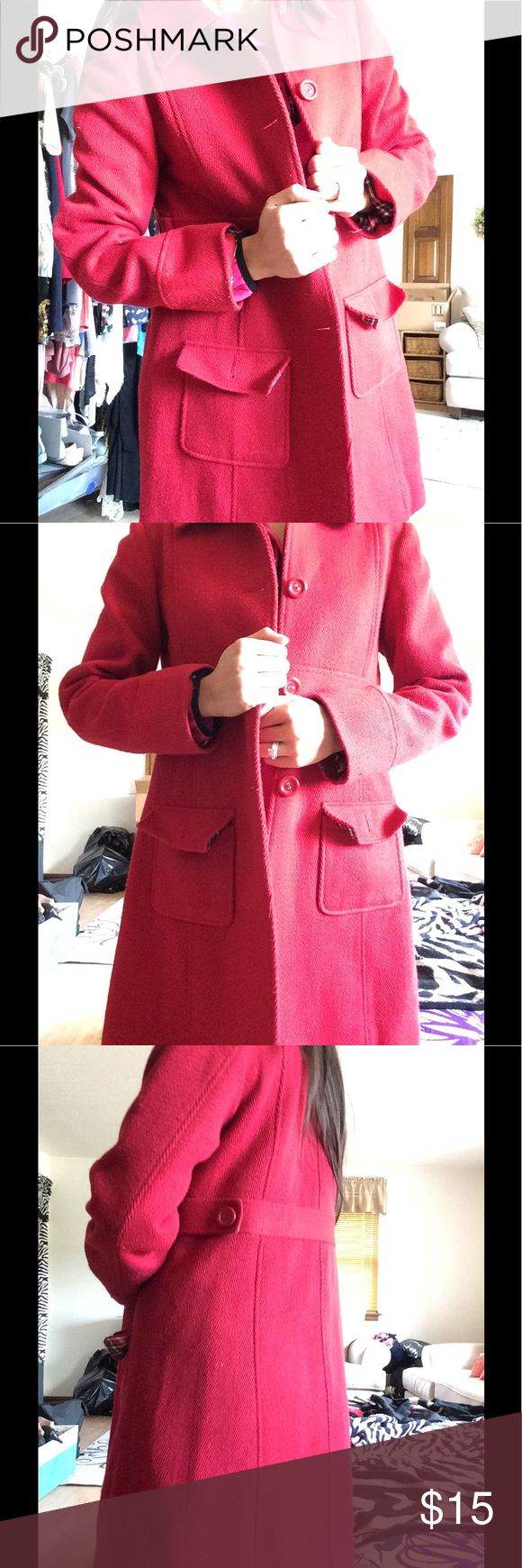 Red Pea Coat A single breasted red coat, waiting for you to wear! Never been worn and sits in the back of my closet. Make it yours! It will be fall soon! Cherokee Jackets & Coats Pea Coats