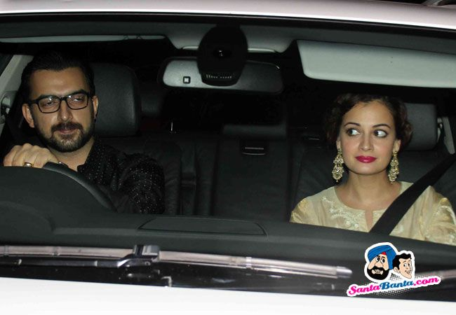 Celebs Spotted at Sanjay Khan House for Eid -- Dia Mirza along with her husband Sahil Sangha Picture # 318344