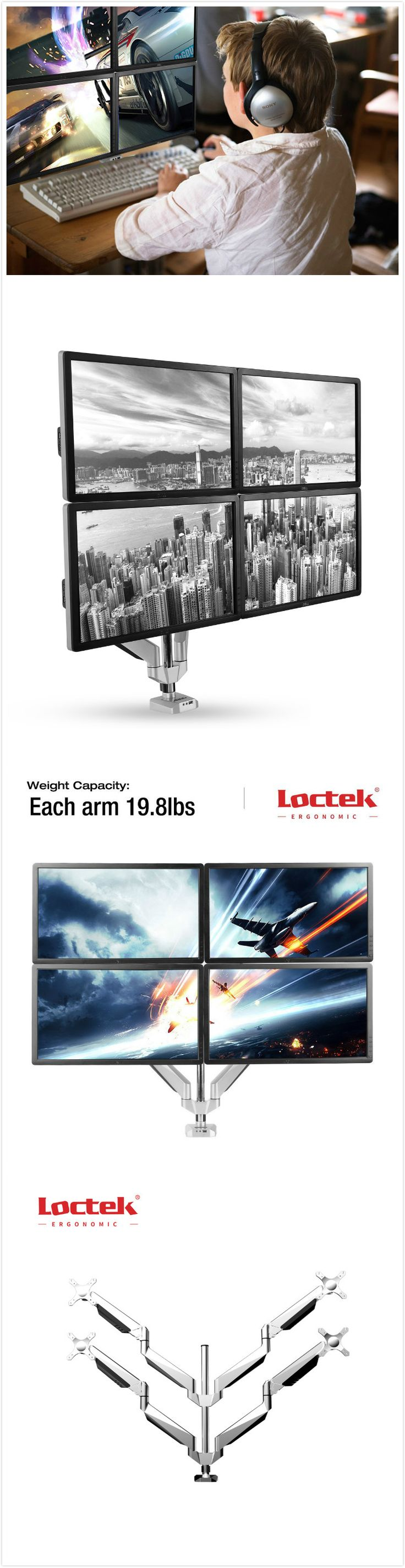 This premium four arm computer monitor mount offers an attractive way to display four monitors while saving the most amount of desk space. All arms easily adjust, allowing you to work in a more comfortable, ergonomically correct position. Learn more at http://loctek.us/product/four-arm-desk-computer-monitor-mount-wusb-d7q/
