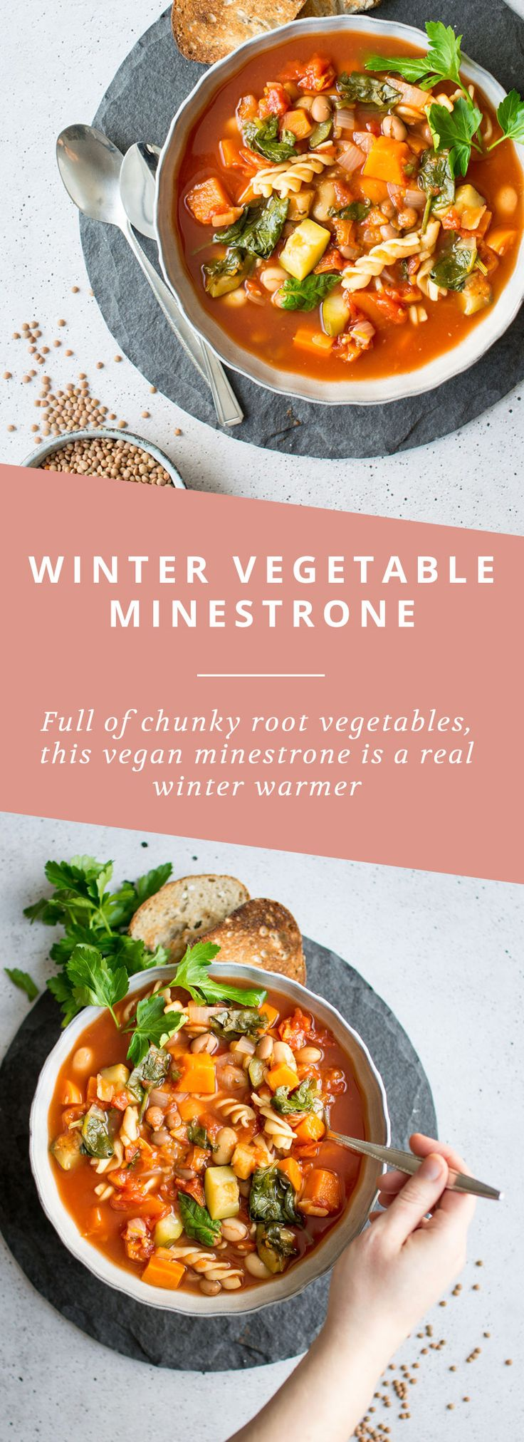 A winter vegetable minestrone soup, full of vitamins and minerals for a hearty winter meal!