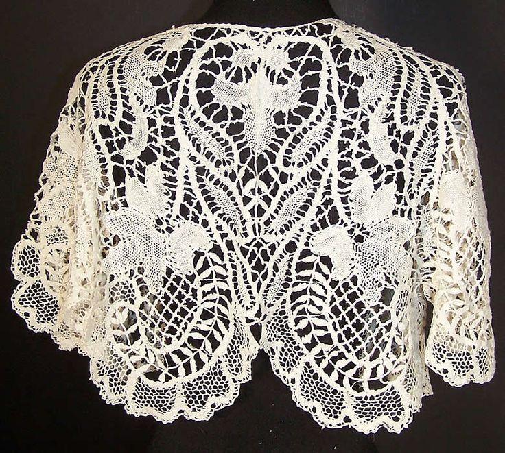 Victorian White Beds Maltese Bobbin Lace Collar Capelet