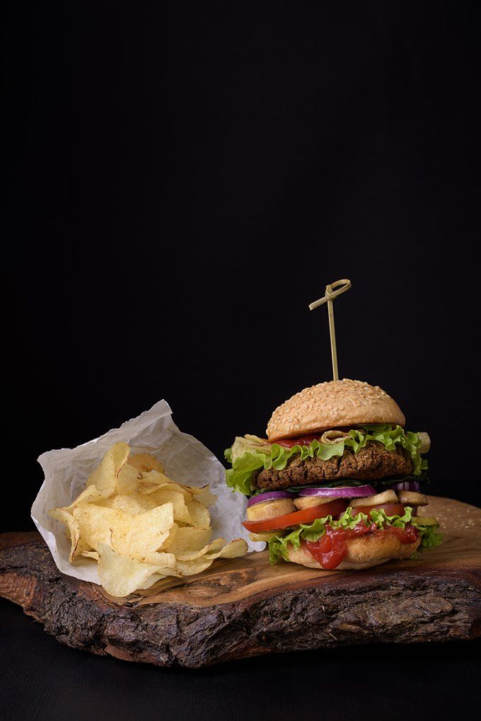 Burger with potato chips by Iuliia Leonova on @creativemarket