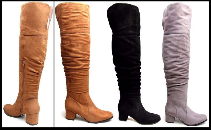 Womens Thigh High Boots Ladies Over the Knee Slouch Mid Heel Faux Suede Boots UK #Unbranded #OverKneeBoots #Casual #FLIRTYWARDROBE www.FlirtyWardrobe.com