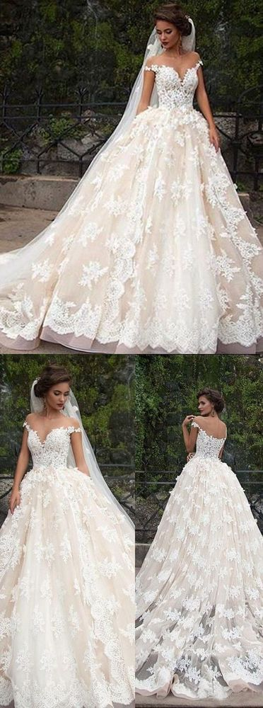 A-Line Off-the-Shoulder Appliques Weeding Dress, Lace Wedding Dress – Lucy