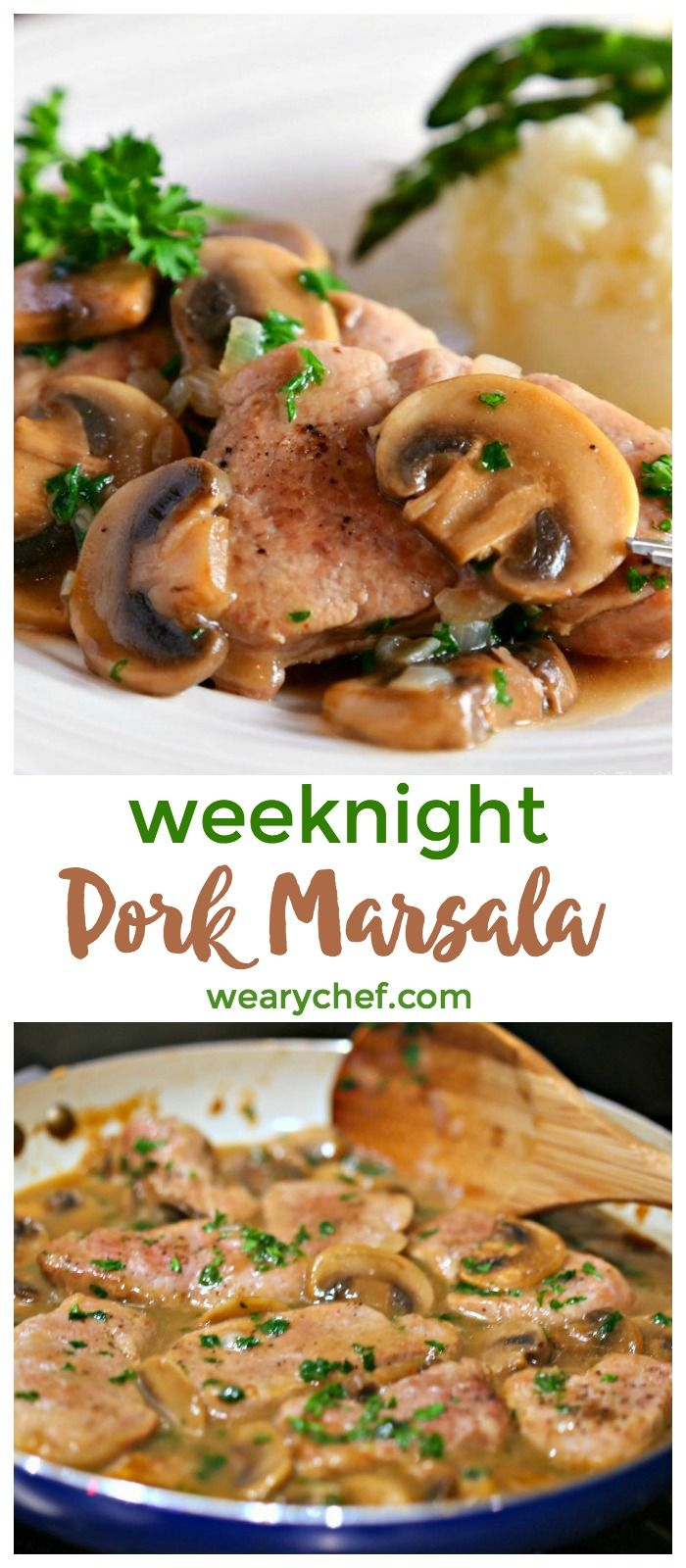 Easy Pork Marsala is quick to prepare with sliced pork tenderloin, mushrooms, cooking wine, and a few other common ingredients. It's an easy dinner recipe that is perfect for busy weeknights or fancy enough for guests!