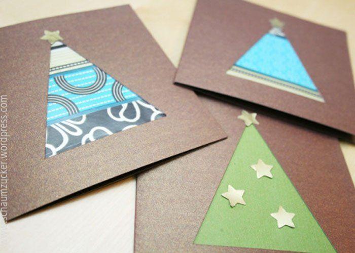 Weihnachtsbaum aus Geschenkpapier basteln mit Kindern. Tolle Weihnachtskarten einfach selbst gemacht.
