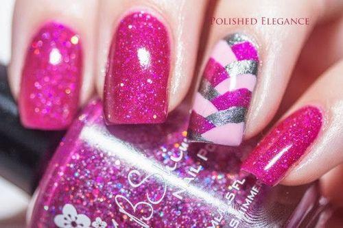 Glitter magneta nails nails pink glitter nail pretty nails nail art nail ideas nail designs magneta