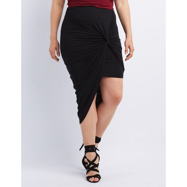Charlotte Russe Knotted Asymmetrical Skirt ($23) ❤ liked on Polyvore featuring plus size women's fashion, plus size clothing, plus size skirts, black, asymmetrical skirt, gathered skirt, elastic waist skirt and knotted skirt