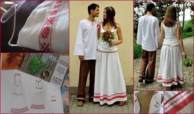 slavic folklore wedding dress for a friend made of linen and slovak trimms