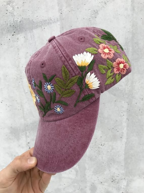 Hand Embroidered Hat / Custom Embroidered Hat / Floral Embroidered