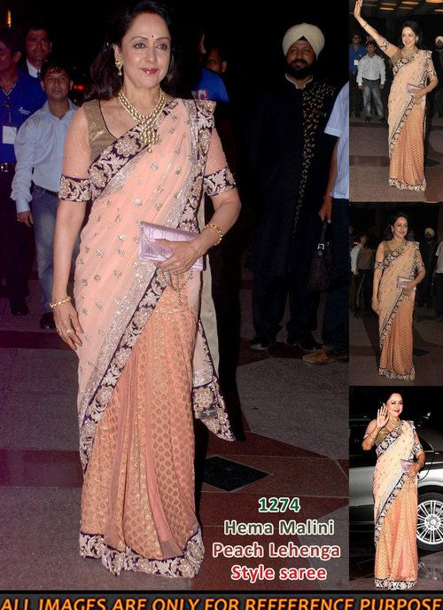 Peach Lehenga Saree of Hema Malini