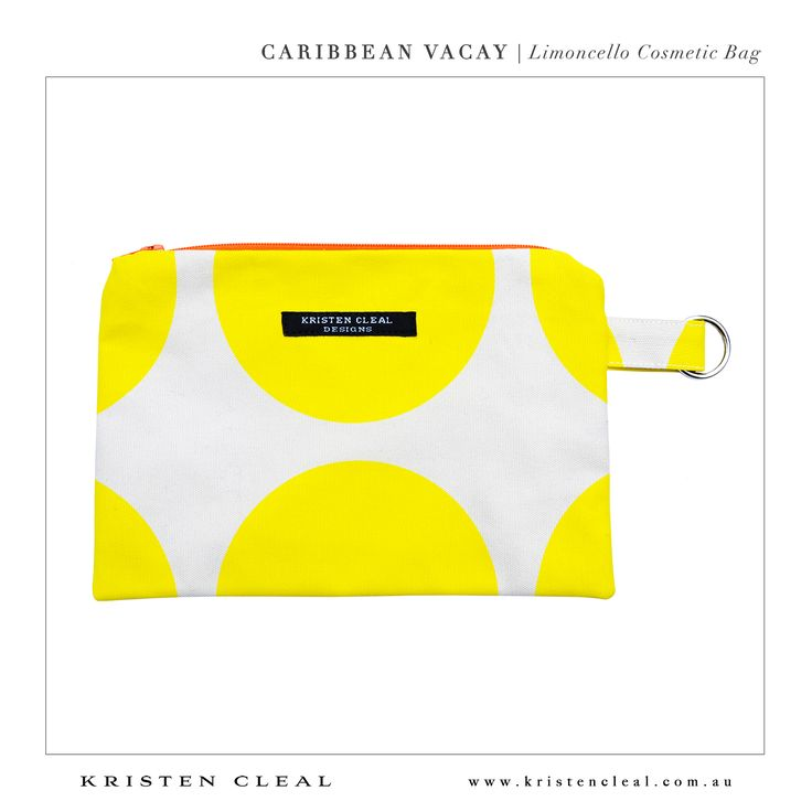 Limoncello Cosmetic Bag by Kristen Cleal Designs  Caribbean Vacay 2014 Collection
