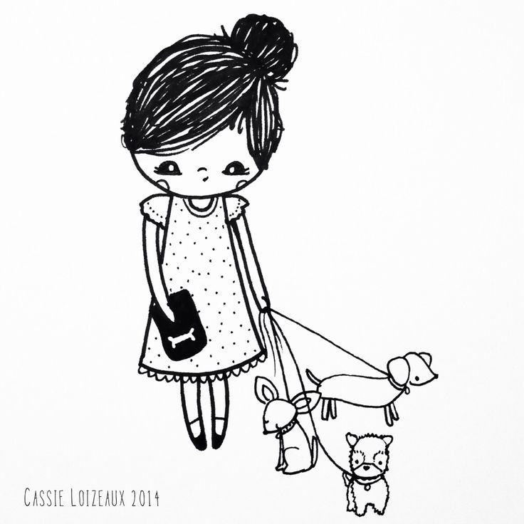 Tiny Dog Walker. Day 91 of yearlong sketchbook project. Cassie Loizeaux
