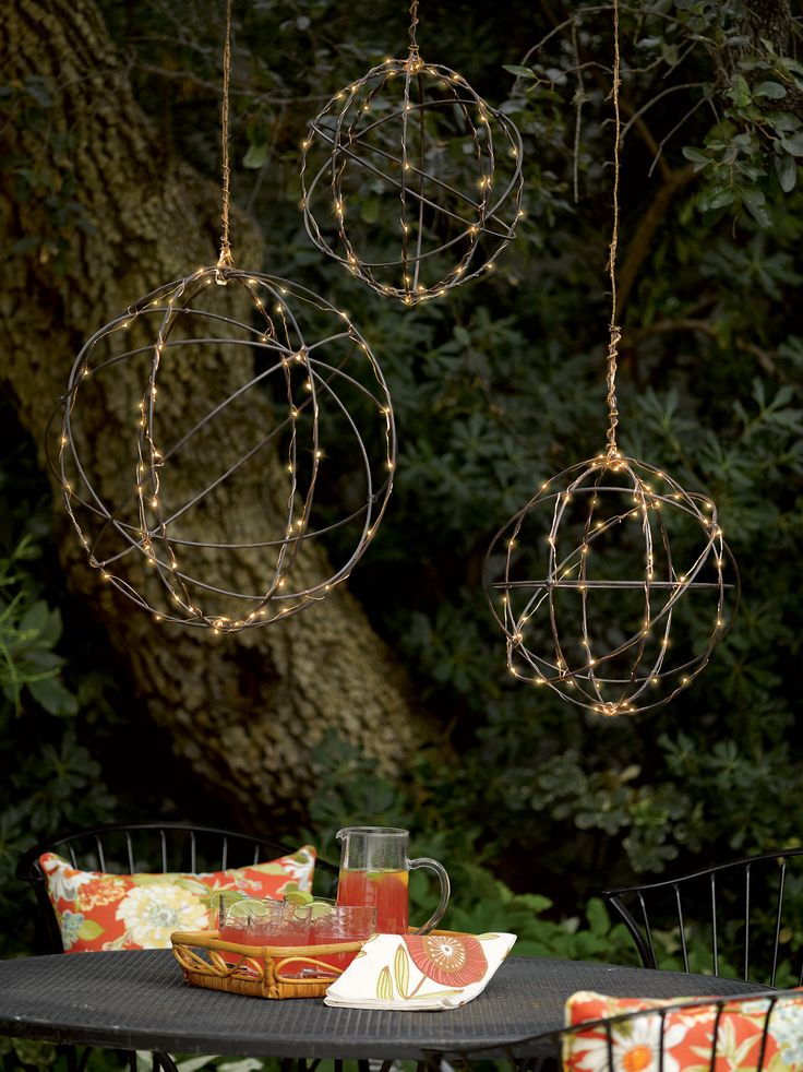 Wire Sphere Battery Operated LED Lights   Gardeners.com