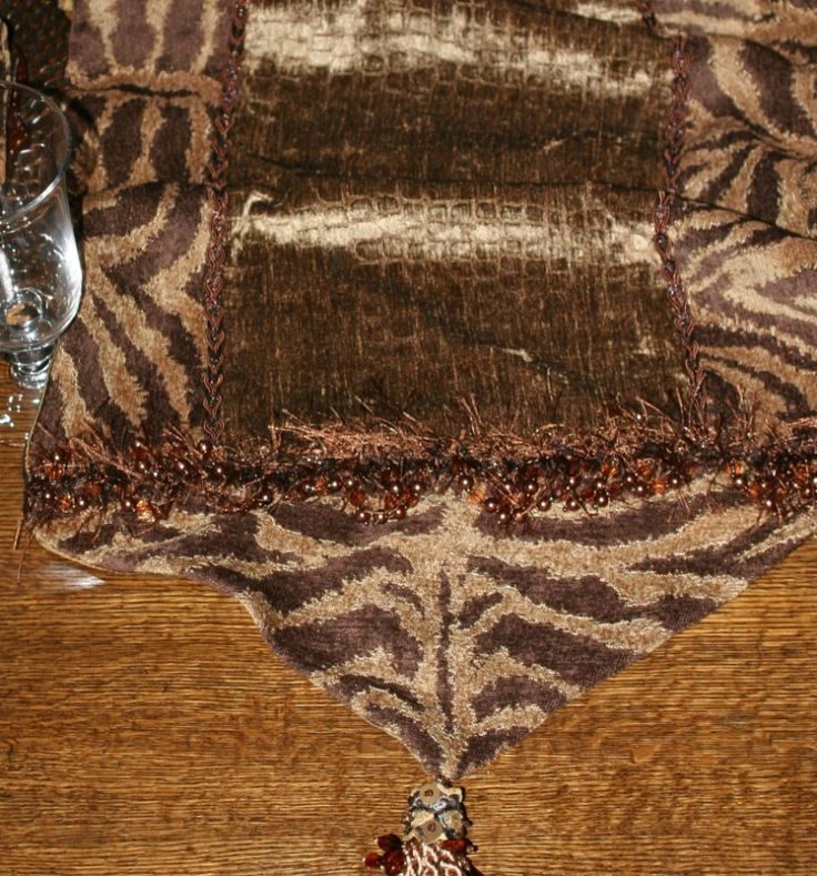 Brown And Tan Tiger Chenille Surrounds Matching Faux Crocodile Print  Accented With Tassels And Decorative Trims