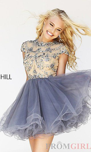 Open Back Babydoll Dress with Cap Sleeves at PromGirl.com