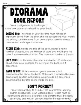Shoe Box Diorama Book Report: Diorama for a Fiction or Non