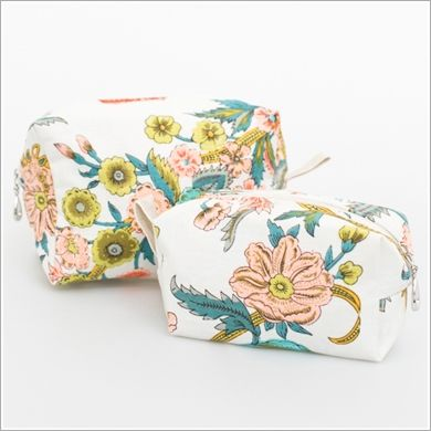 <p>A sweet cosmetic bag Set of Two for pretty gifting for you or someone else. These beauties nest easily inside each other and feature a cotton voile exterior with a waterproof plastic lining and a cotton twill pull tab.</p>