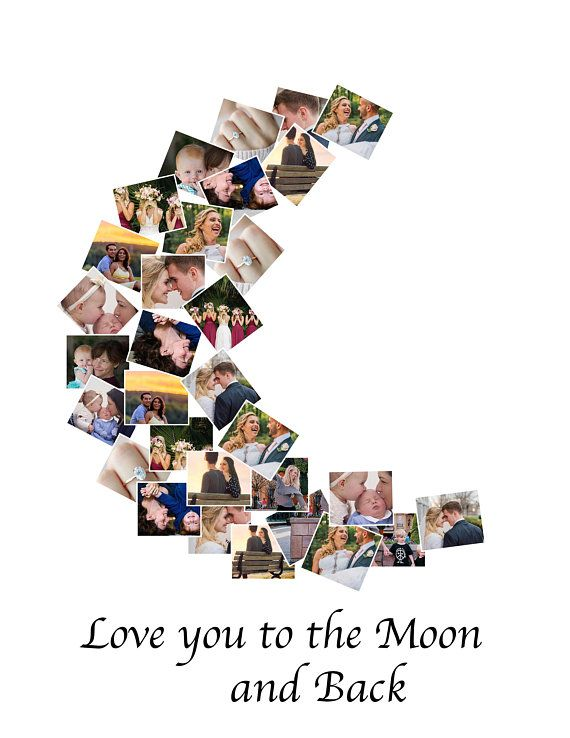 Custom Photo Collage Love You To The Moon And Back Photo Collage