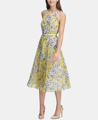 61fb2ef7178 Tommy Hilfiger Printed Belted Halter Midi Dress Women - Dresses - Macy s
