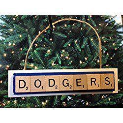 Los Angeles Christmas Ornament Los Angeles Dodgers LA Scrabble Tiles Handmade Wood