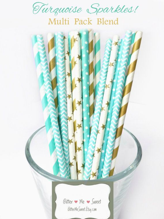 Turquoise Paper Straws  Gold Paper Straws  by GlitterMeSweet