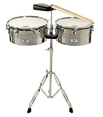 AM Percusión última intervensión Timbale Set con soporte y cencerro