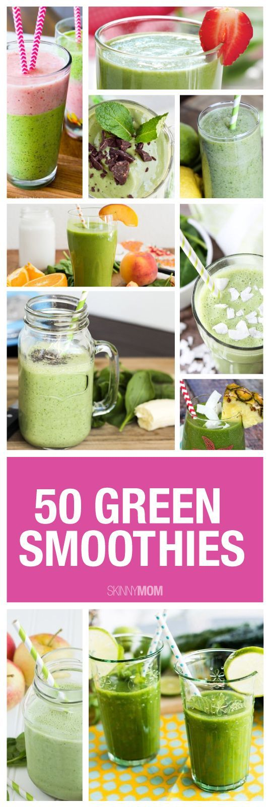 50 Green Smoothies - Whether it's breakfast or an afternoon snack, a healthy smoothie is a great choice. They taste great and are great for you. If you have a hard time getting in your fruits and veggies, green smoothies are the way to go!