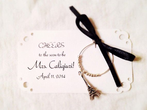 Customized Wine Charm Favors For Paris Themed Wedding Fully