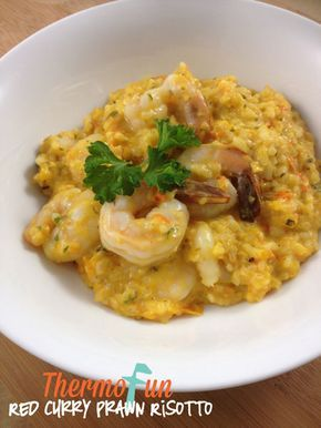 This recipe was created because we love risotto, curry and prawns, what better combination. A nice combination without being overly 'hot' - if you like more spice give it a go.