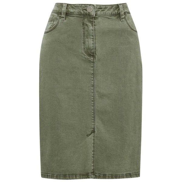 M&Co Khaki Denim Pencil Skirt ($34) ❤ liked on Polyvore featuring skirts, khaki, denim skirt, green skirt, pencil skirts, green pencil skirt and zipper skirt