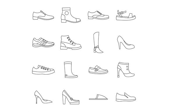 Shoe icons set in outline style  @creativework247