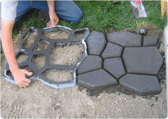 DIY concrete cobblestone path.-talk about a $ saver!