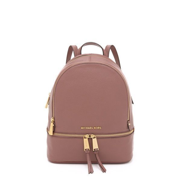 MICHAEL Michael Kors Rhea Backpack ($300) ❤ liked on Polyvore featuring bags, backpacks, dusty rose, brown bag, zipper bag, leather rucksack, leather zipper bag and real leather backpack Diese und weitere Taschen auf www.designertaschen-shops.de entdecken