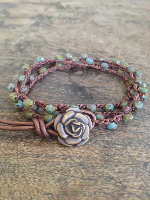 Rose Crochet Multi Wrap Bracelet, Anklet, Necklace Boho Chic, via Etsy.