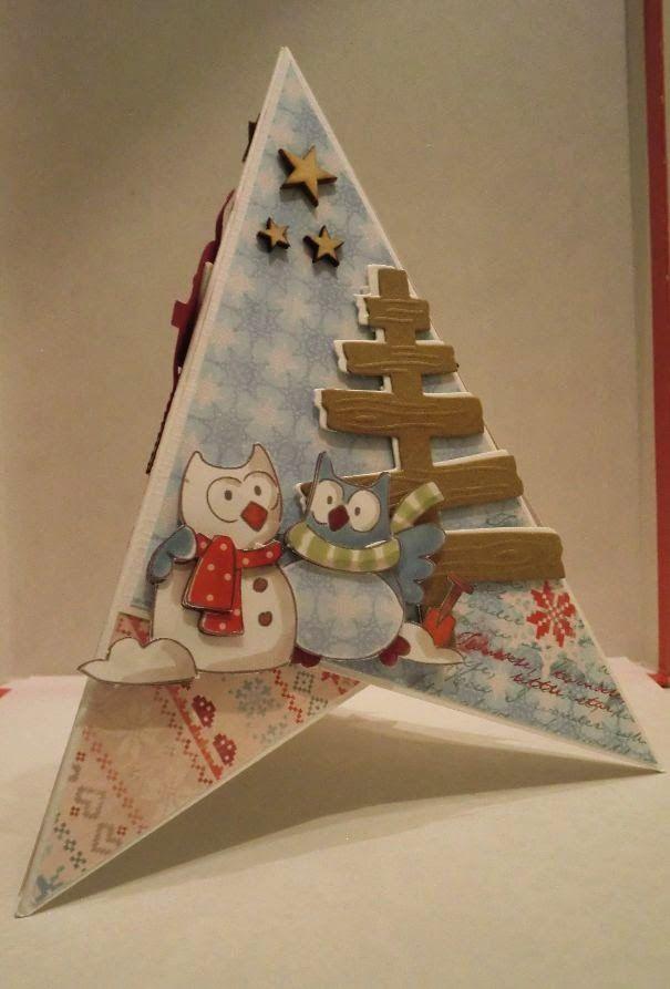CreAnita: piramide kaart met kerstuiltjes