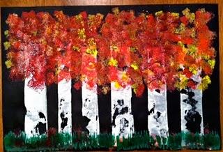 Fall Birch Tree Painting