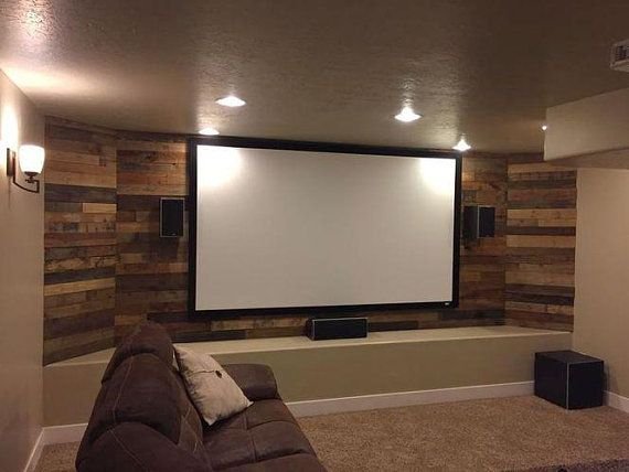 Pre Stained Pallet Wood Accent Walls Home Theater Seating