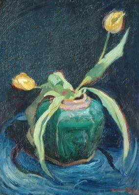 Henricus Johannes 'Harrie' Kuijten (Utrecht 1883-1952 Schoorl) Tulpen in gemberpot