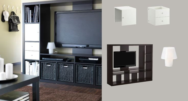 Expedit Black Brown Tv Storage Unit With White Door And