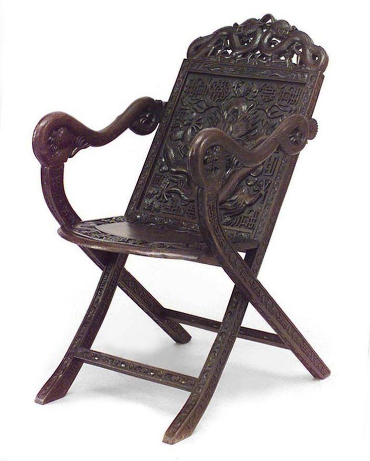 Asian Chinese Style Carved Walnut Folding Campaign Style Arm Chair With  Dragon C