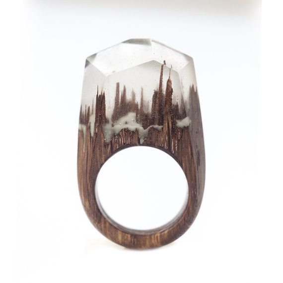 Resin Wood Ring, Epoxy Resin, Shining in the Dark, Wood Resin Jewelry, Wooden Ring, One of a Kind Ring, Wood and Resin, Wood Jewelry