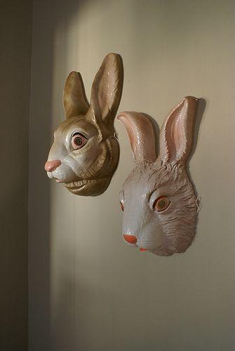 .DIY PAper Mache Bunny Mask=do in clay -mini version