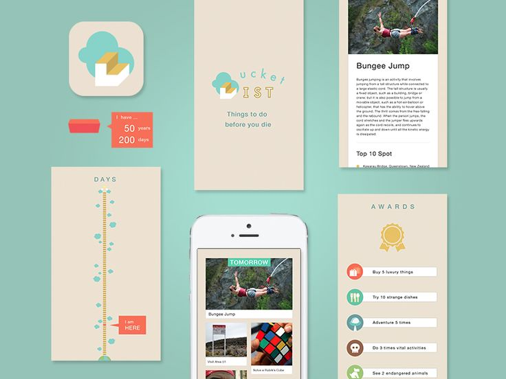 The Bucket List Mobile App | Creative User Interface Design
