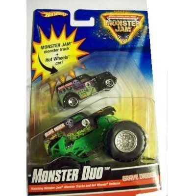 Hot Wheels Monster Jam Monster Duo GRAVE DIGGER 1:64 Scale Collectible Truck and Anglia Panel by Mattel. $5.88. Official Monster Jam Truck. ANGLIA - Black, w/Grave Digger deco , White Interior, Grey Thailand Base, w/5SP's. Limited Edition Duo Pack. 1:64 Scale (Small Truck). New for 2010. For the first time ever, Monster Jam trucks and Hot Wheels vehicles are offered together in this exclusive 2-pack. Unleash 2 times the power with these exciting 2-packs containing a ...