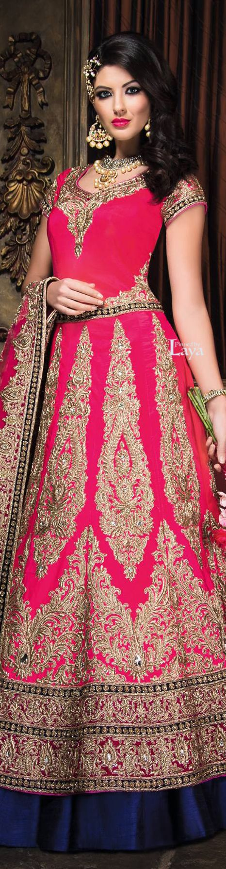 Pink bridal lehenga with necklace and earrings. Indian fashion.